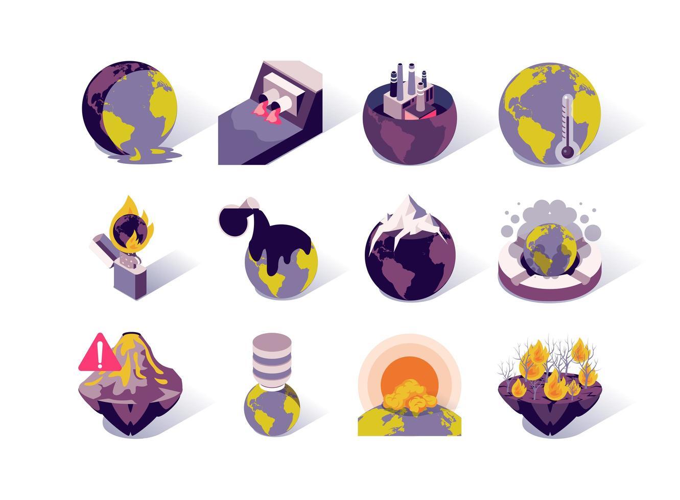Conjunto de ícones isométricos de aquecimento global e poluição vetor