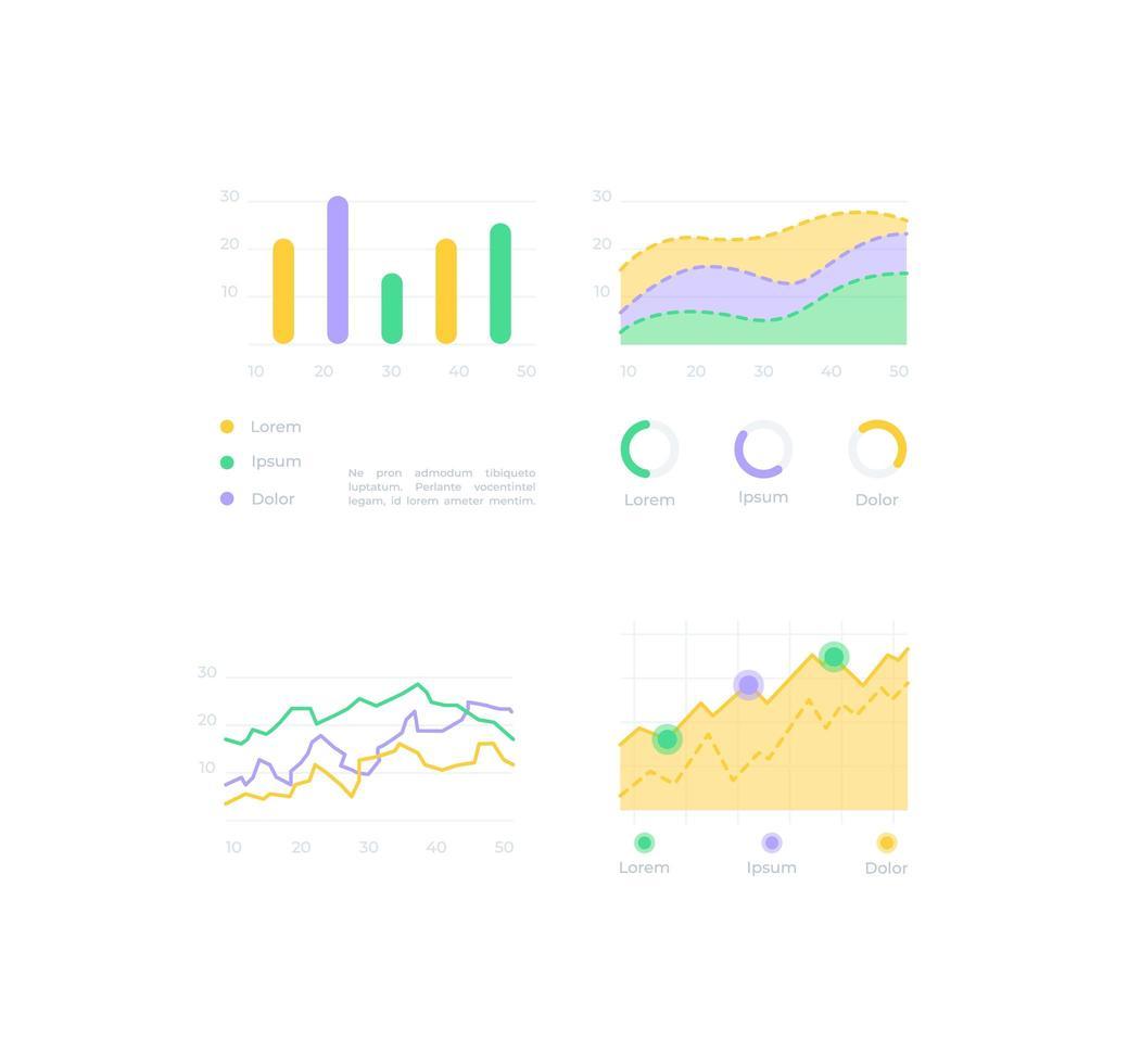 kit de elementos de interface do usuário de análise de gráfico vetor