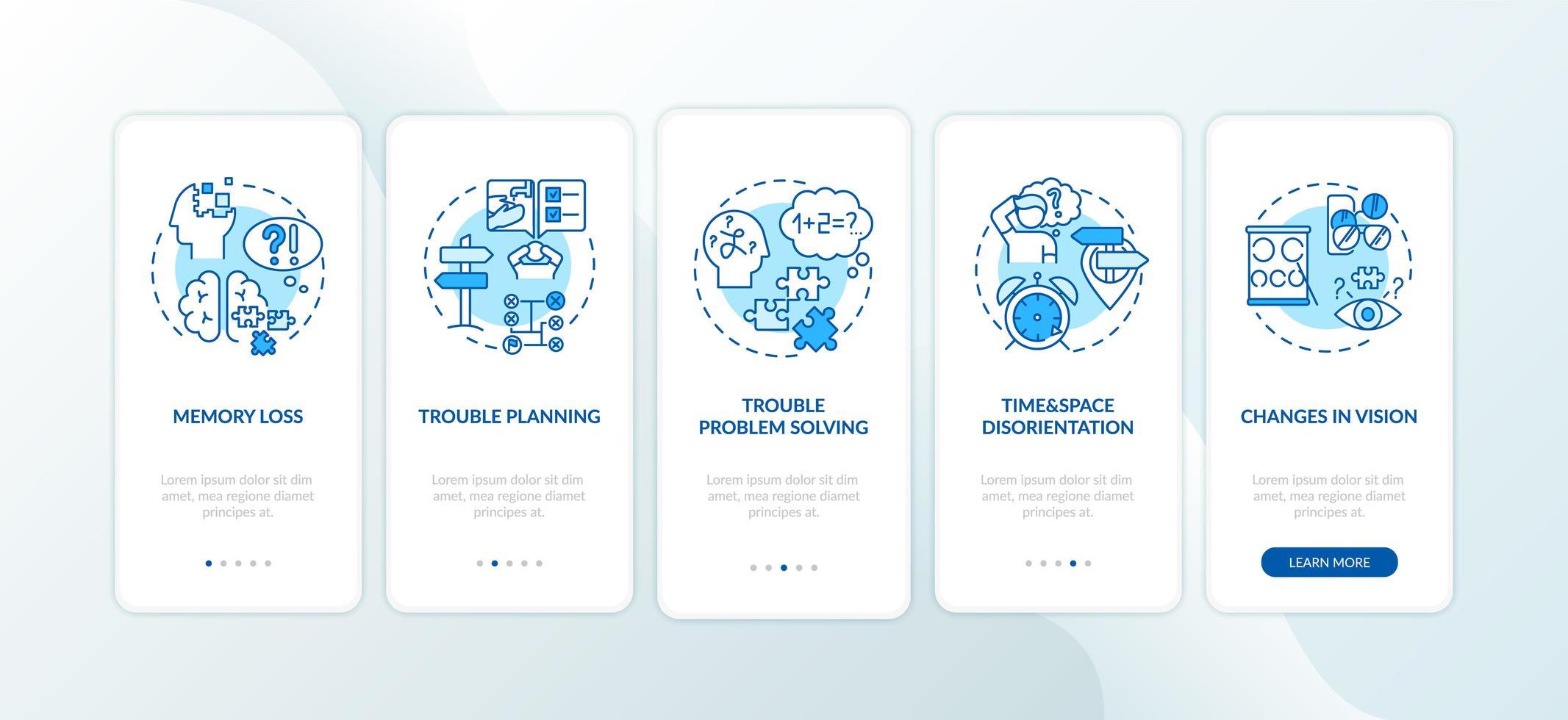 primeiros sinais de demência, telas de páginas de aplicativos móveis vetor