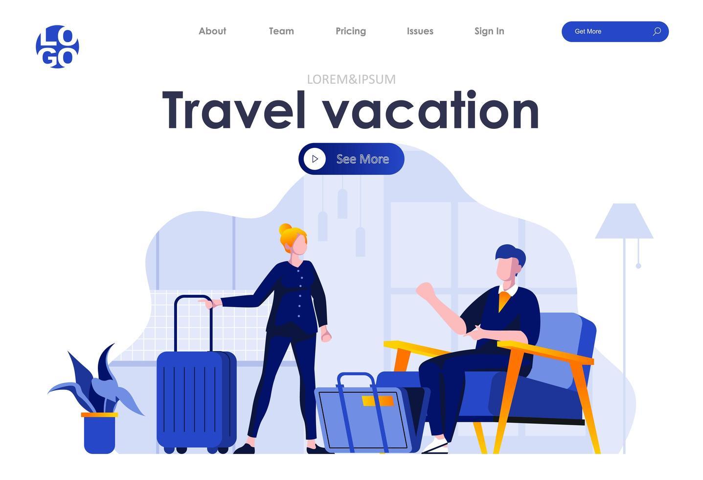 design de página de destino plana de viagens e férias vetor