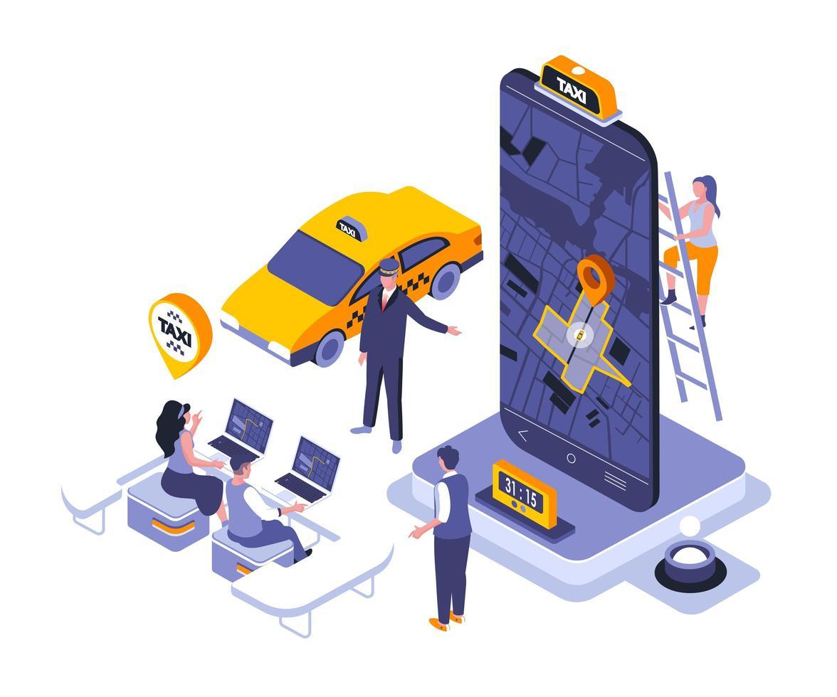 projeto isométrico de serviço de táxi vetor