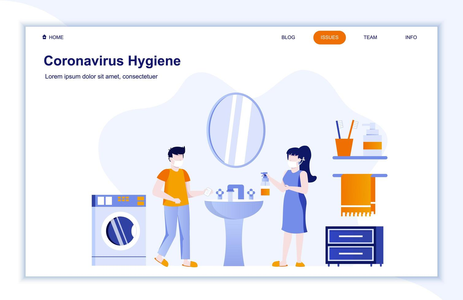 página de destino plana de higiene do coronavírus vetor