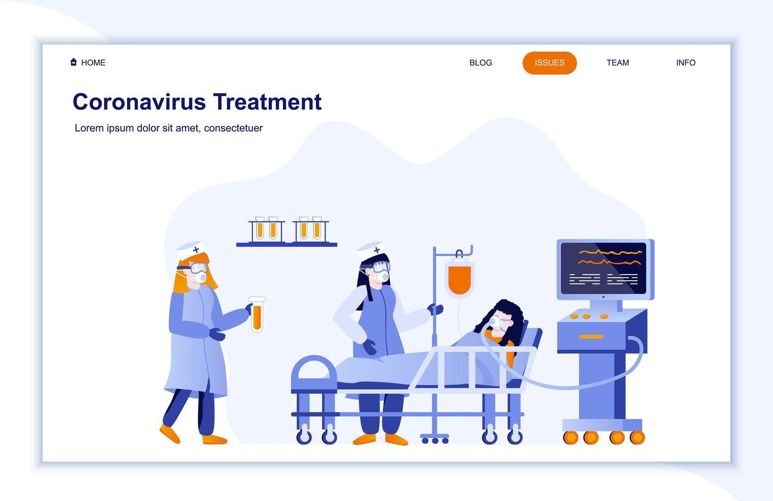 página de destino plana do hospital de tratamento de coronavírus vetor