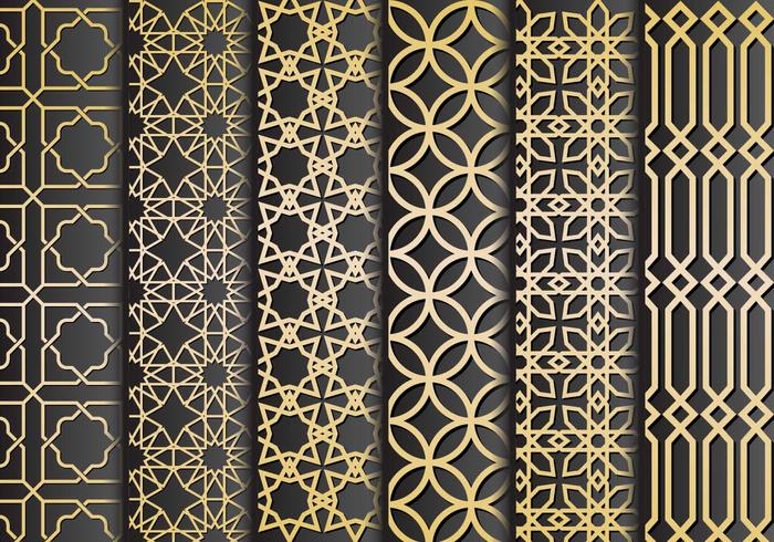 Preto e ornamento do ouro islâmicos Vector