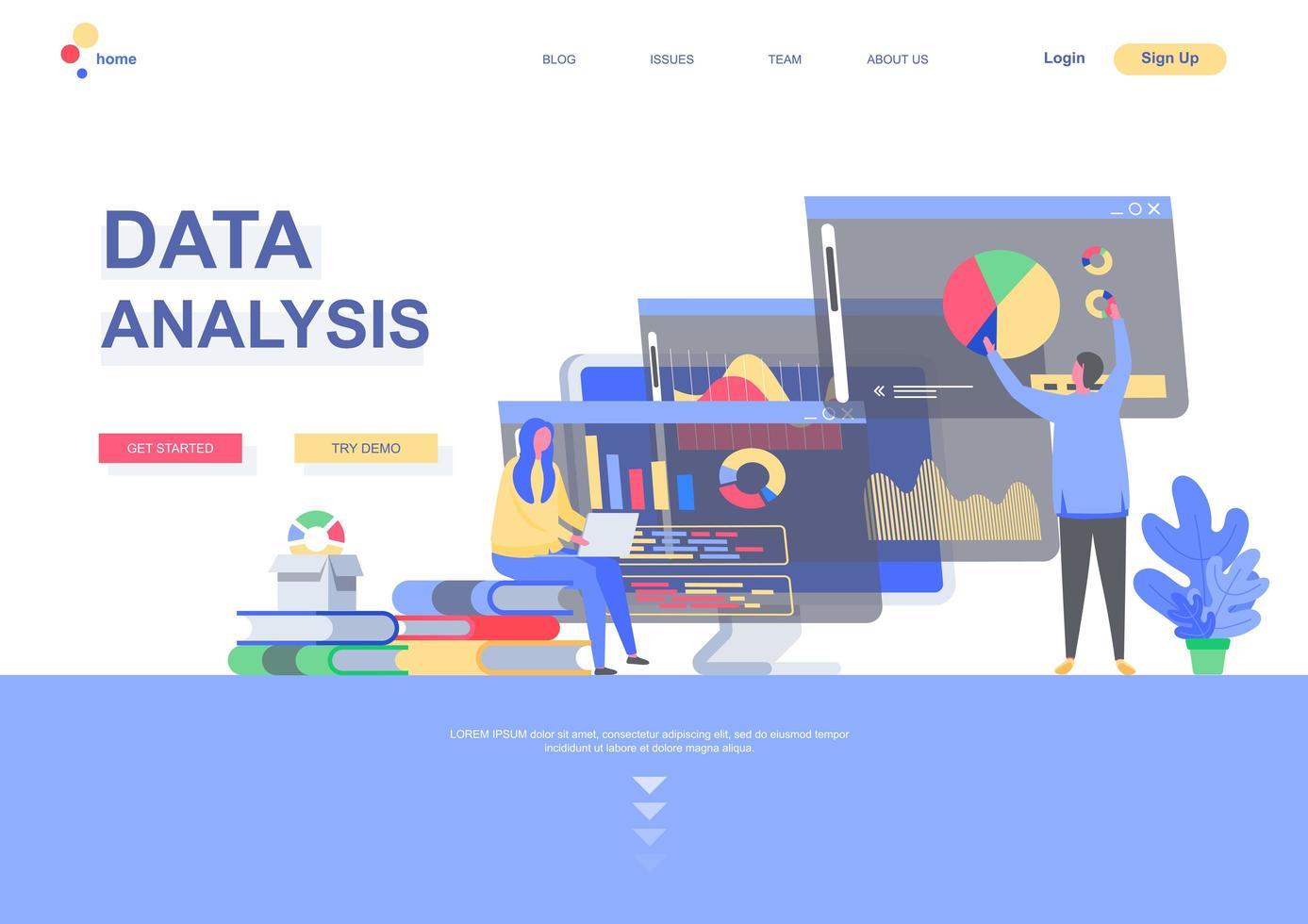 modelo de página de destino da análise de dados vetor