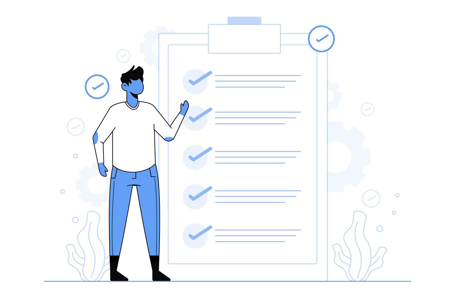 verificar o conceito de sucesso da tarefa para o modelo da página de destino vetor