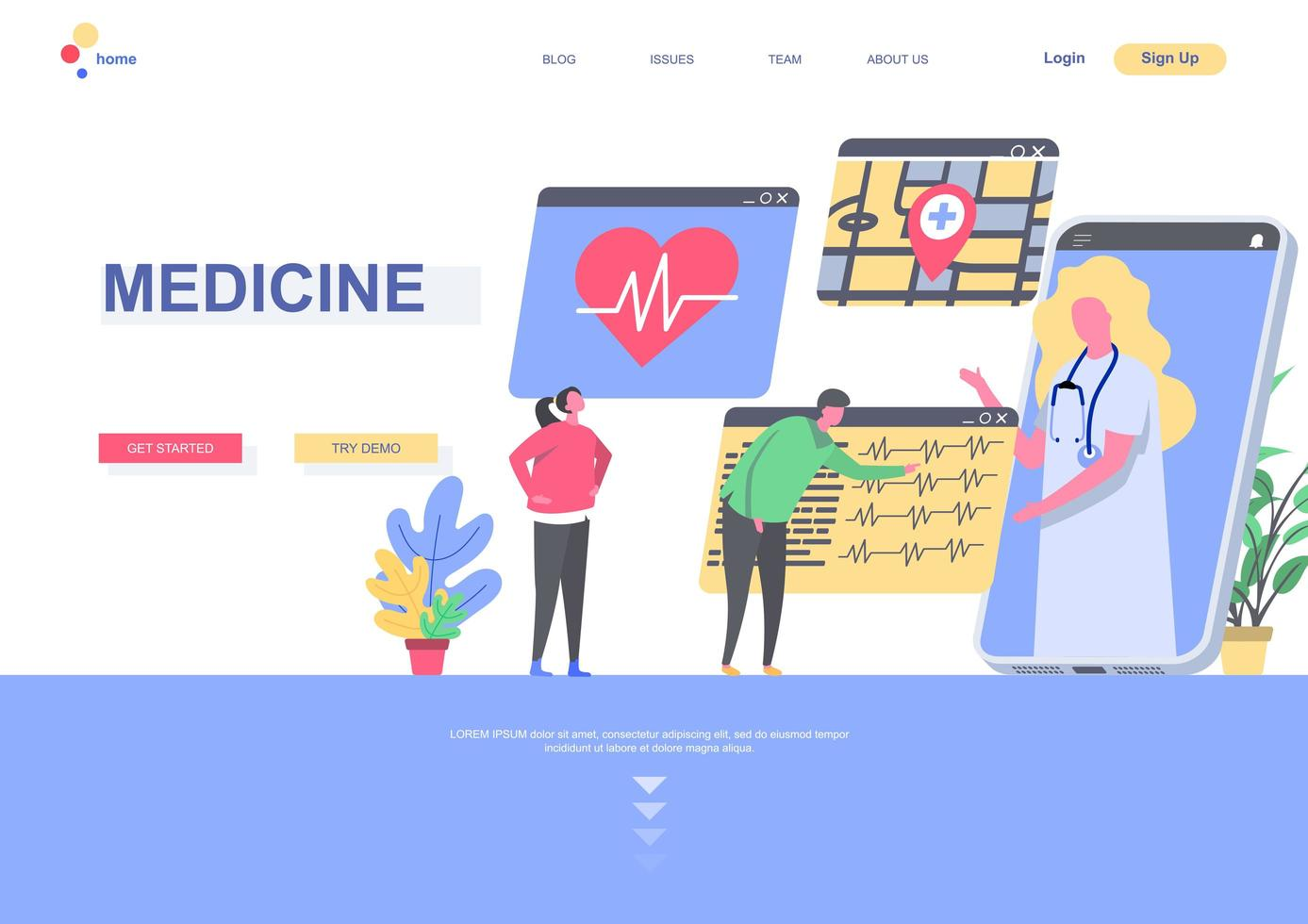 modelo de página de destino de medicamento vetor