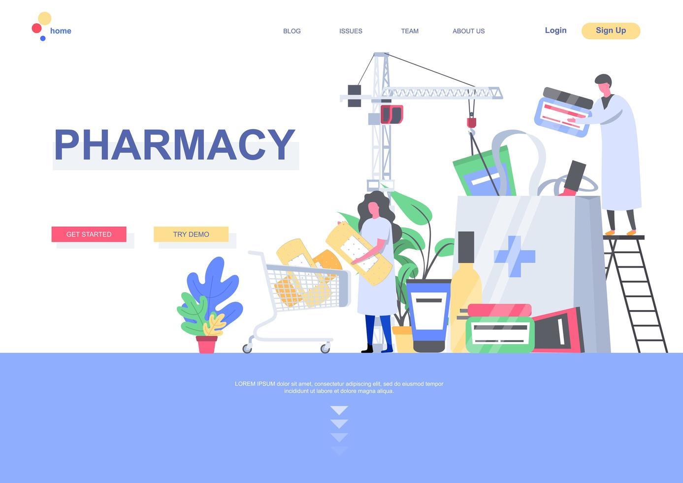 modelo de página de destino de farmácia vetor