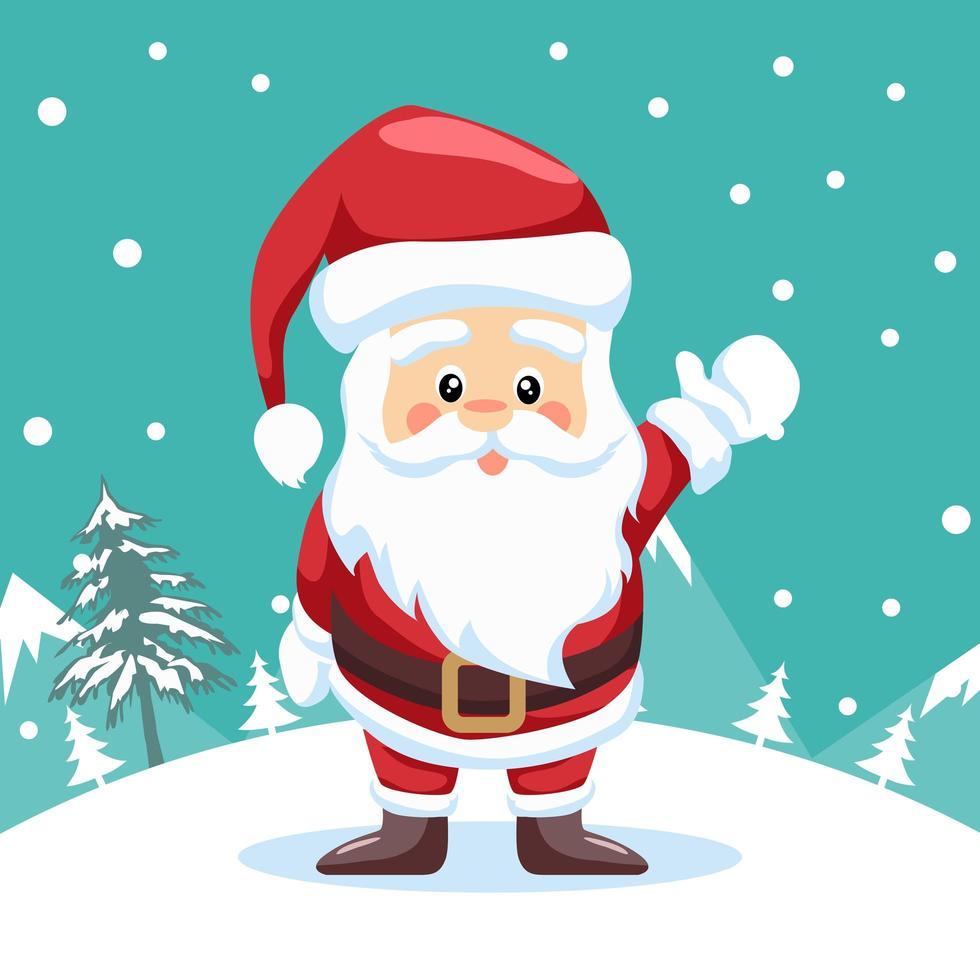 Papai Noel acenando na neve vetor