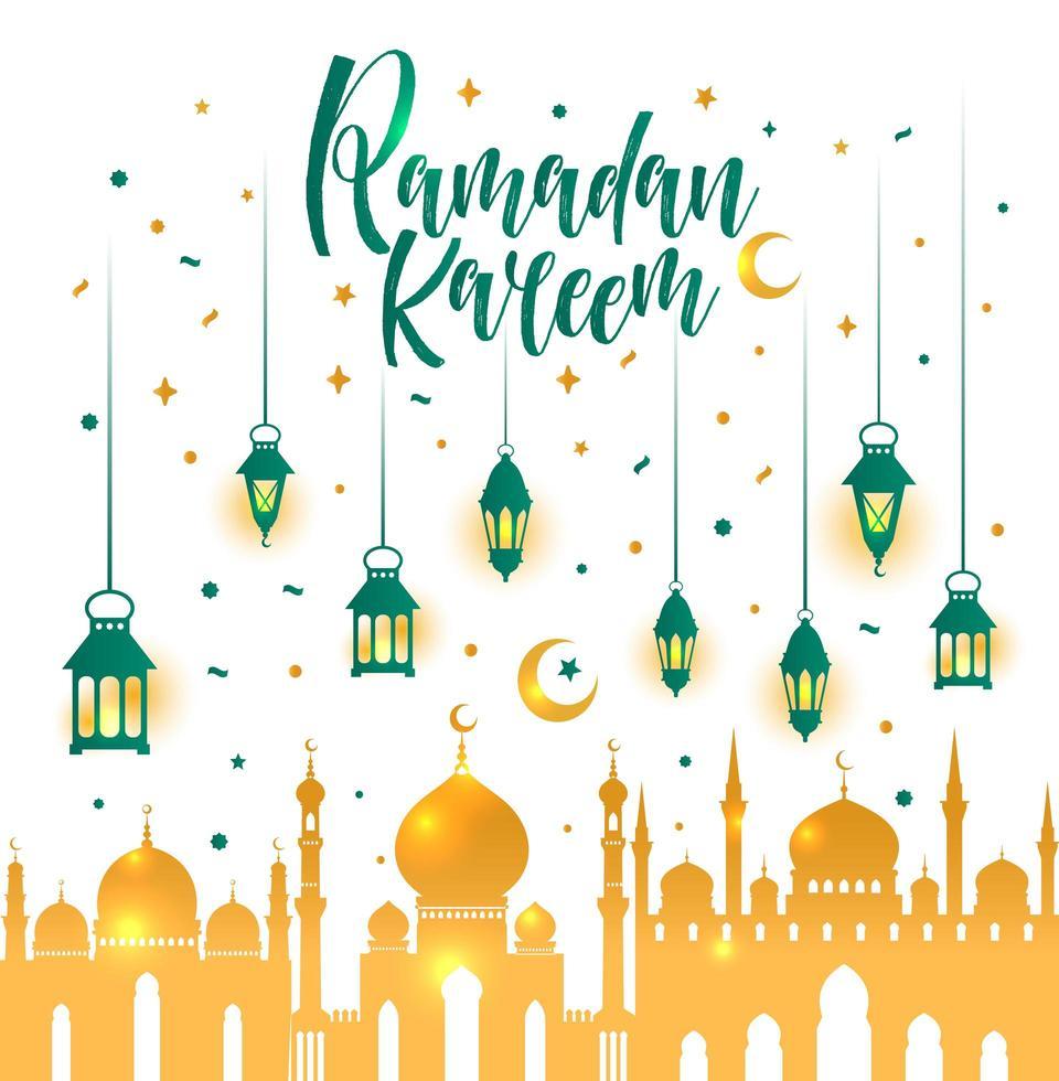 Ramadan Kareem islâmico com lanternas. vetor