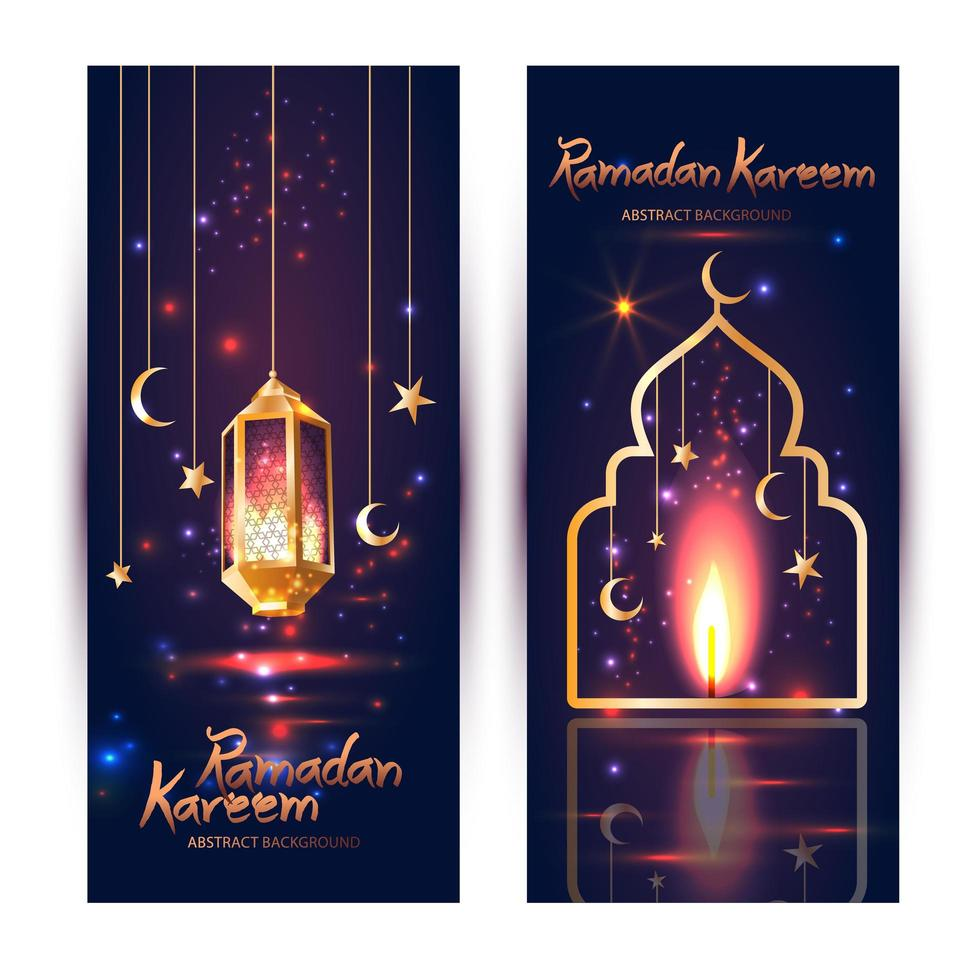 Conjunto de banner islâmico ramadan kareem vetor