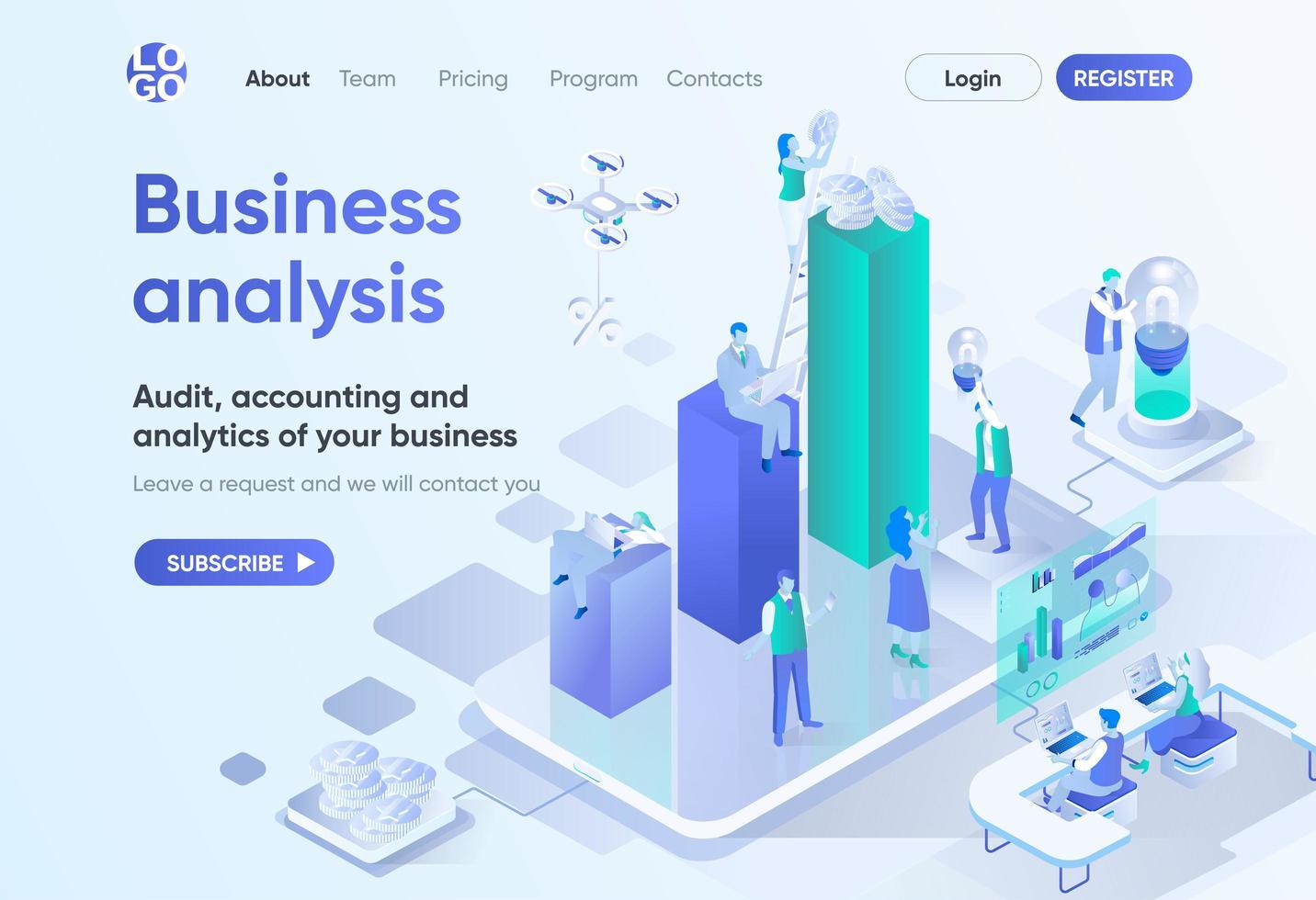 página de destino isométrica de análise de negócios vetor