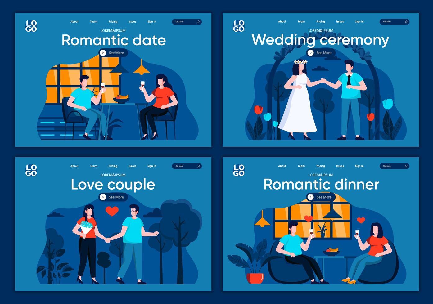 encontro romântico, páginas de destino planas vetor