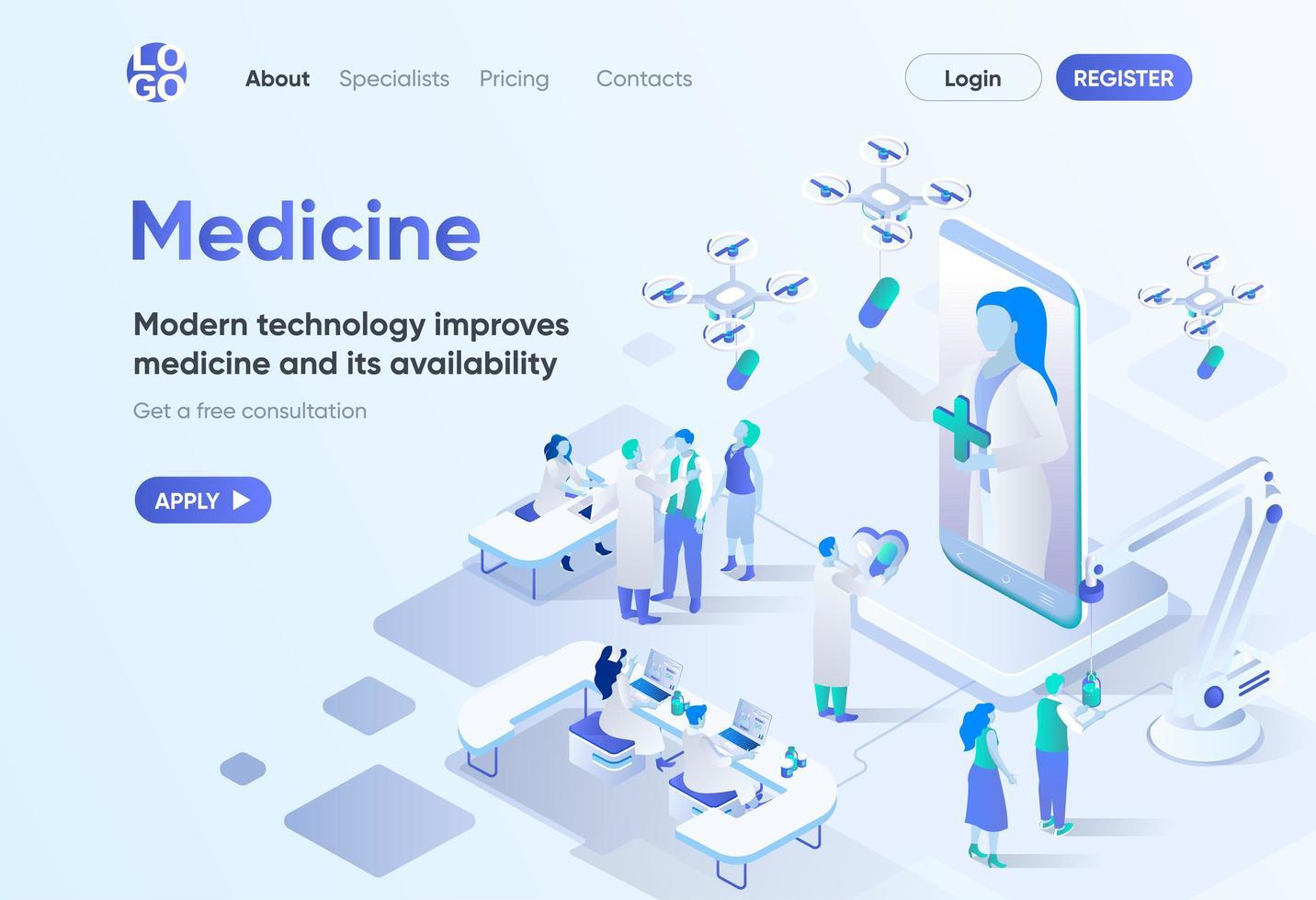 medicina moderna, página de destino isométrica vetor