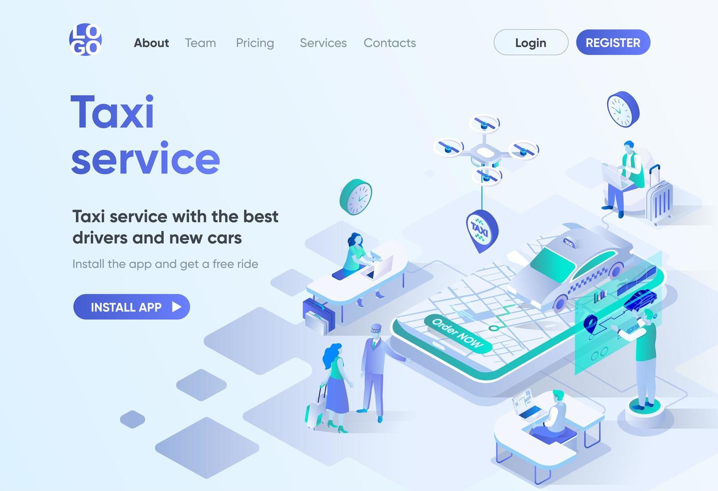 página de destino isométrica do serviço de táxi vetor