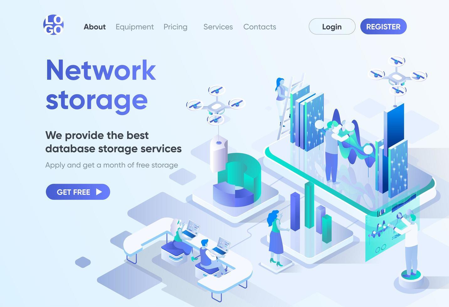 página de destino isométrica de armazenamento de rede vetor