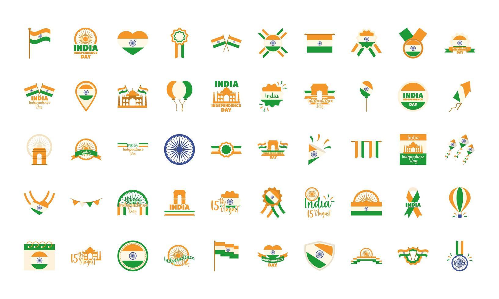 conjunto de ícones do dia da independência da índia vetor