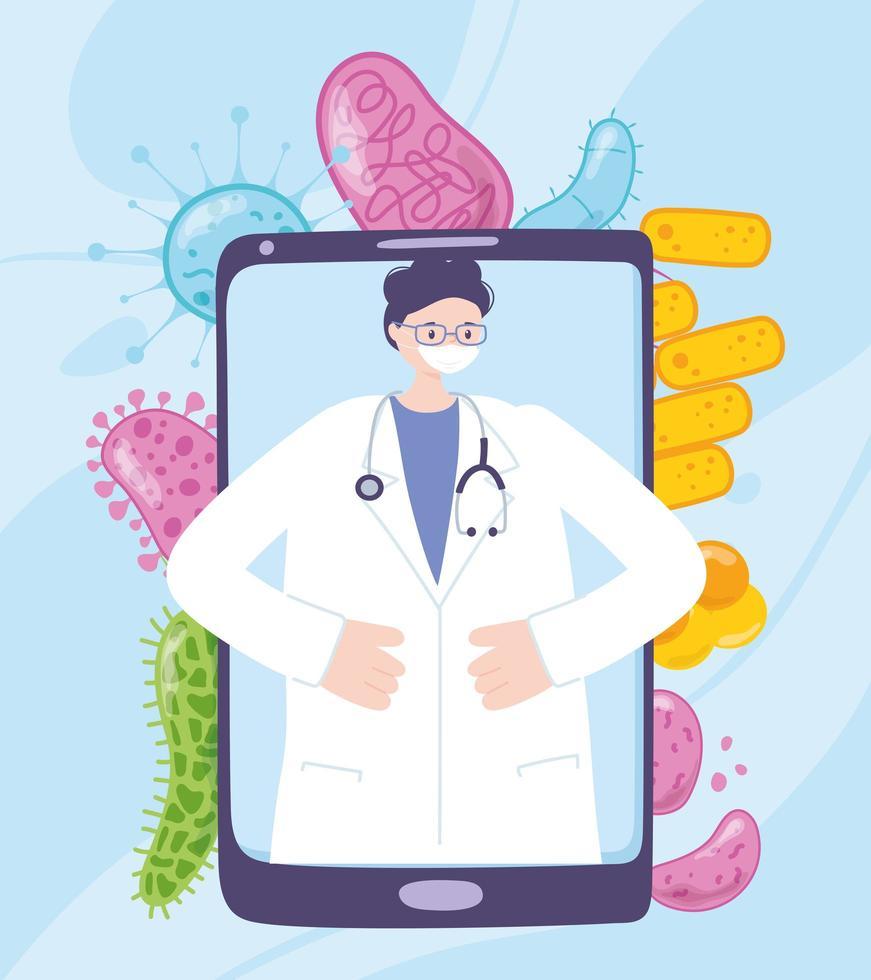atendimento médico online com médico no smartphone vetor