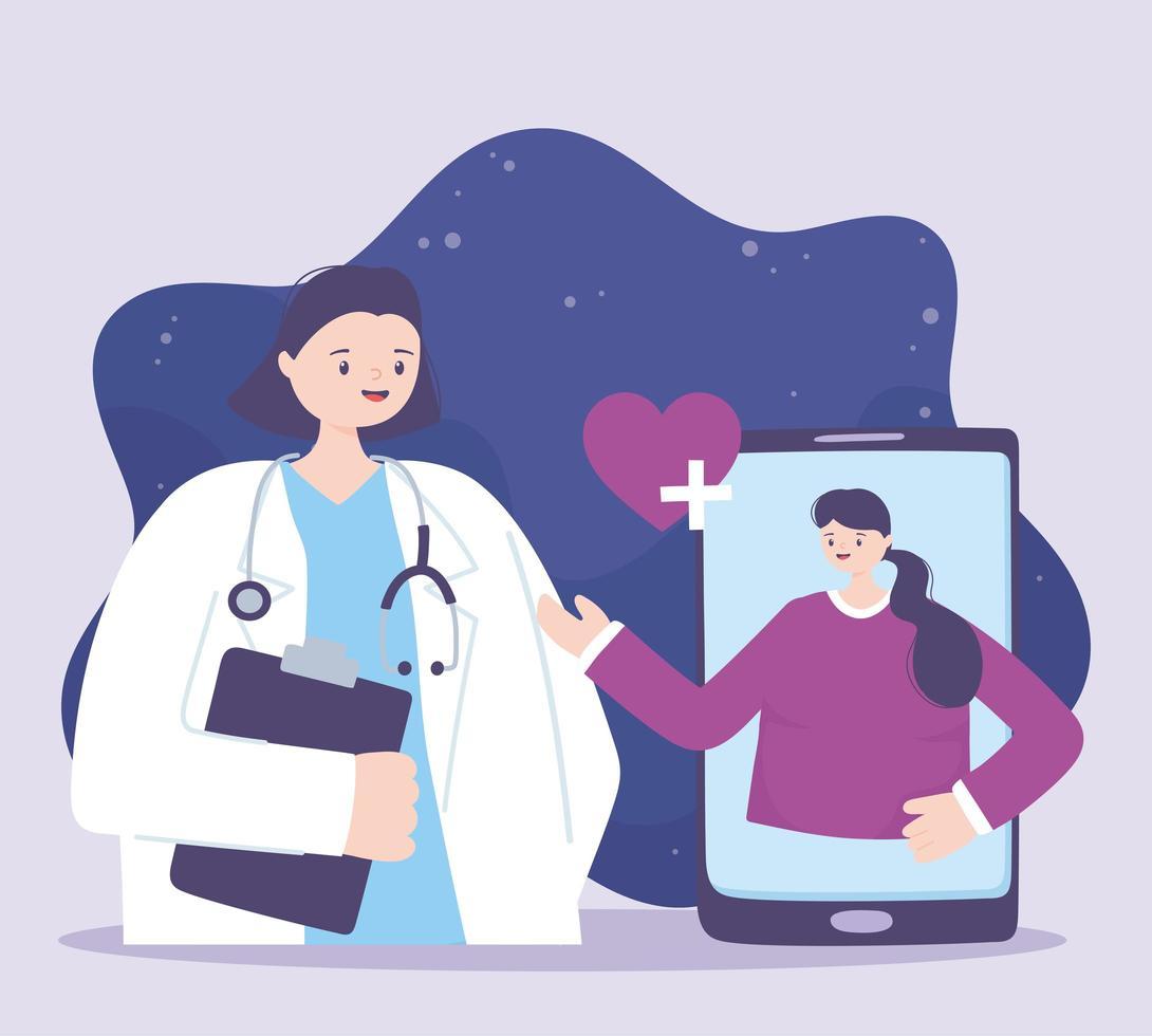 atendimento médico online com paciente no smartphone vetor