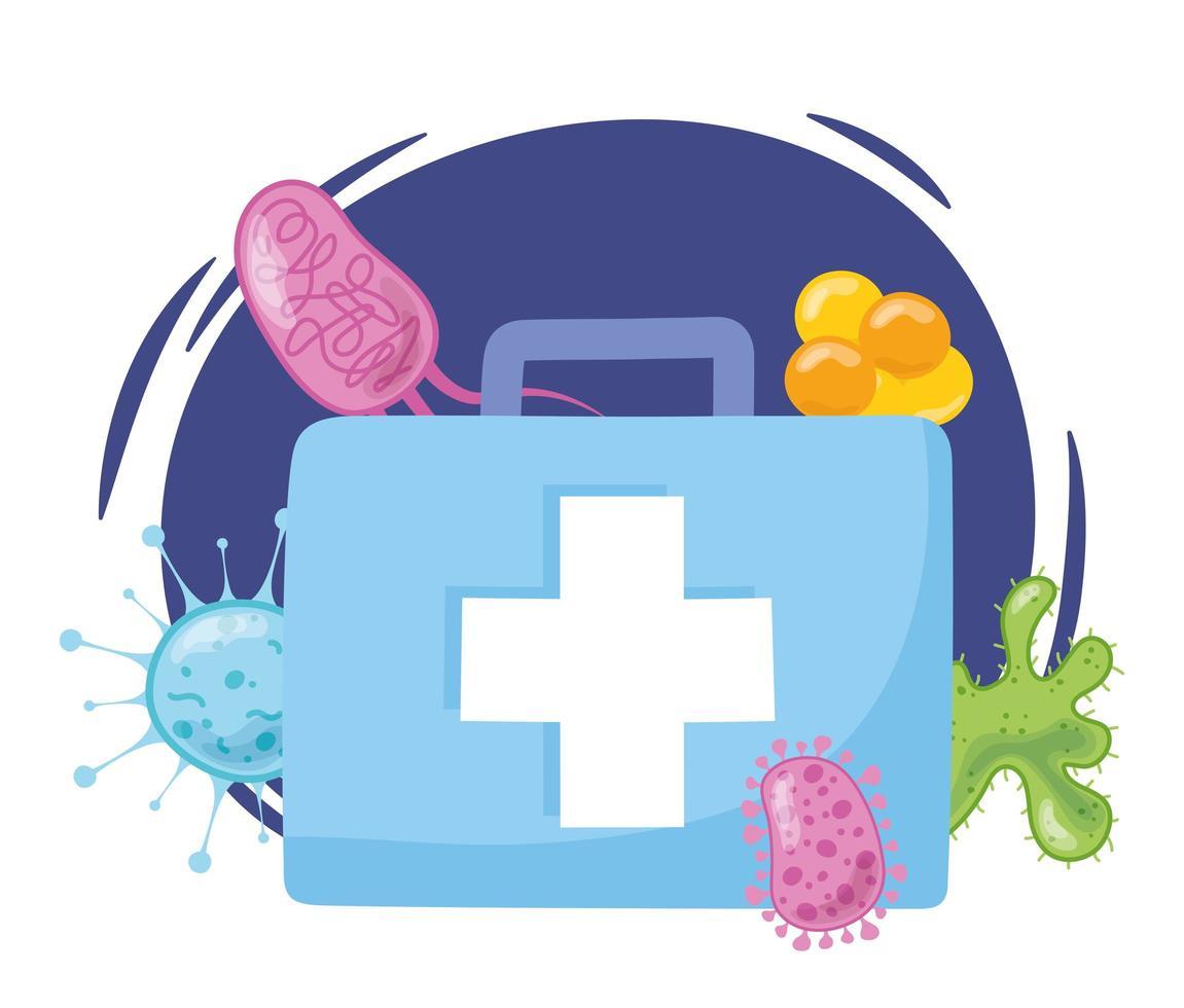 kit de primeiros socorros com vírus e bactérias vetor