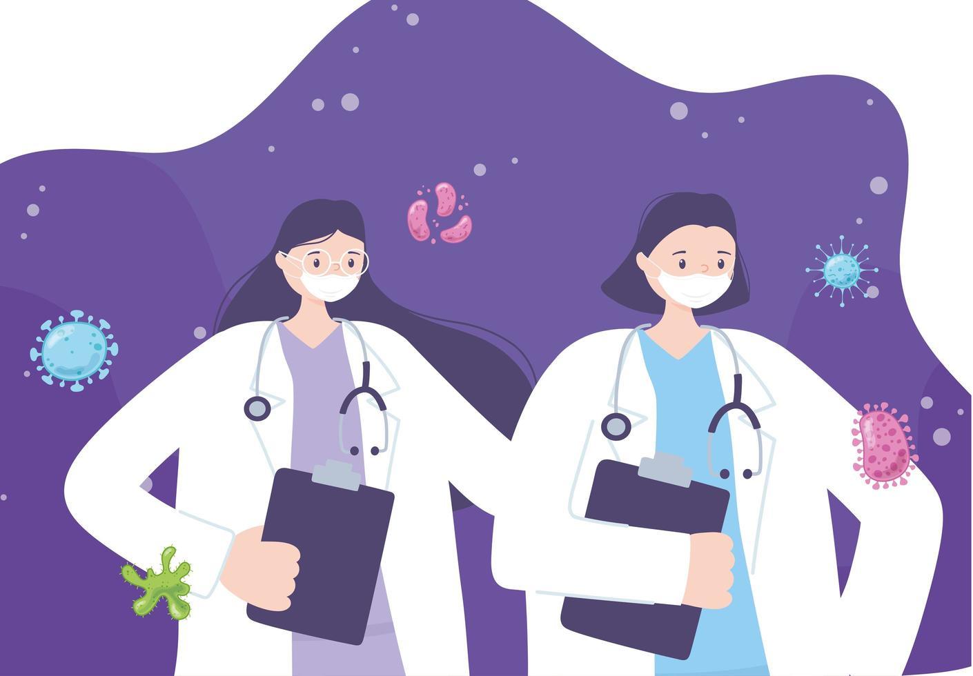 médicos com máscaras faciais durante surto de coronavírus vetor
