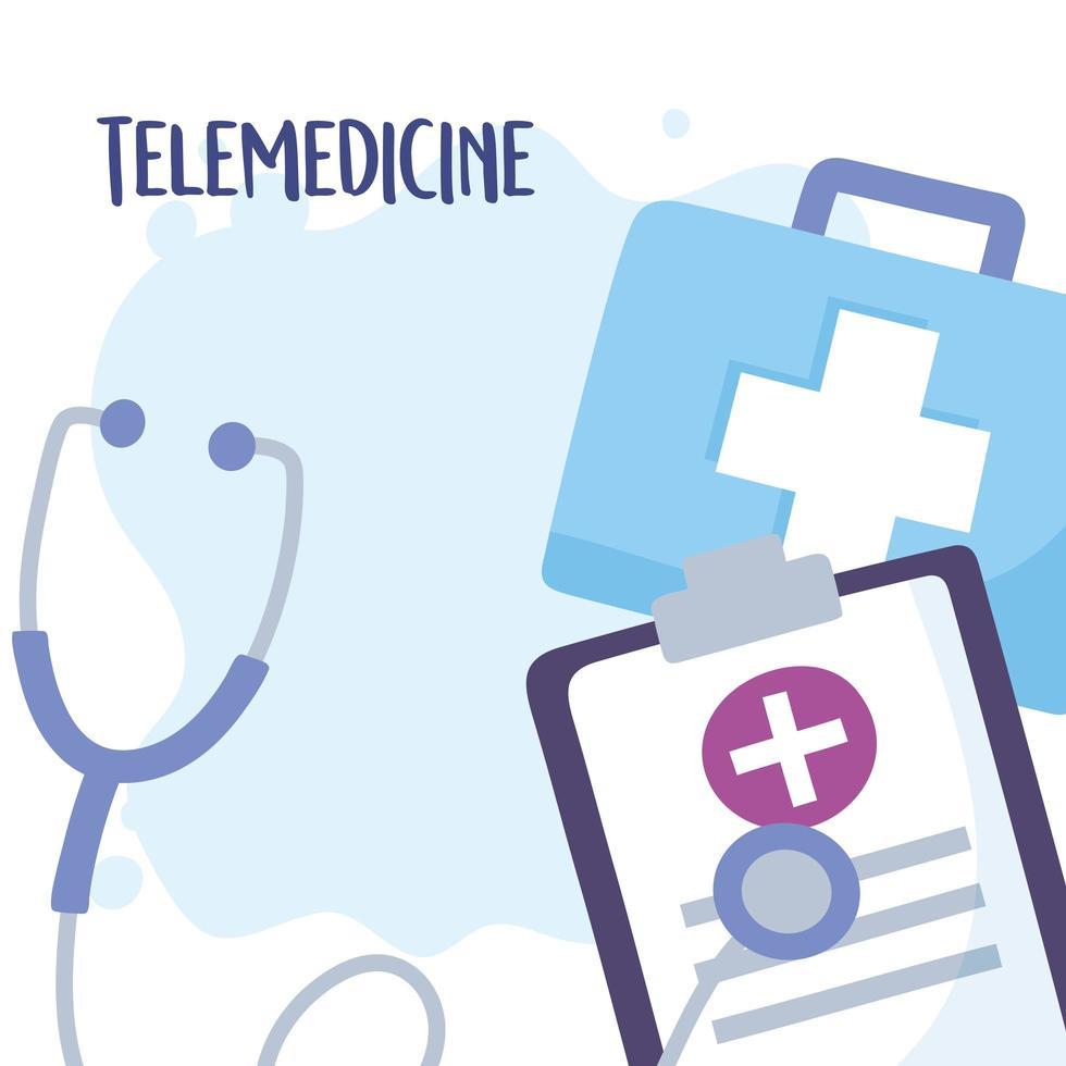 letras de telemedicina e kit médico vetor