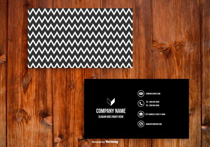 Preto e branco modelo Chevron Business Card vetor