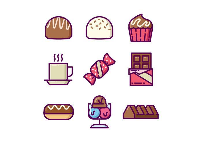 Doce Chocolates Icon Set vetor