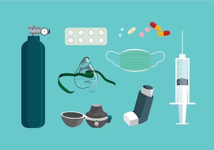Equipamento asma Vector grátis