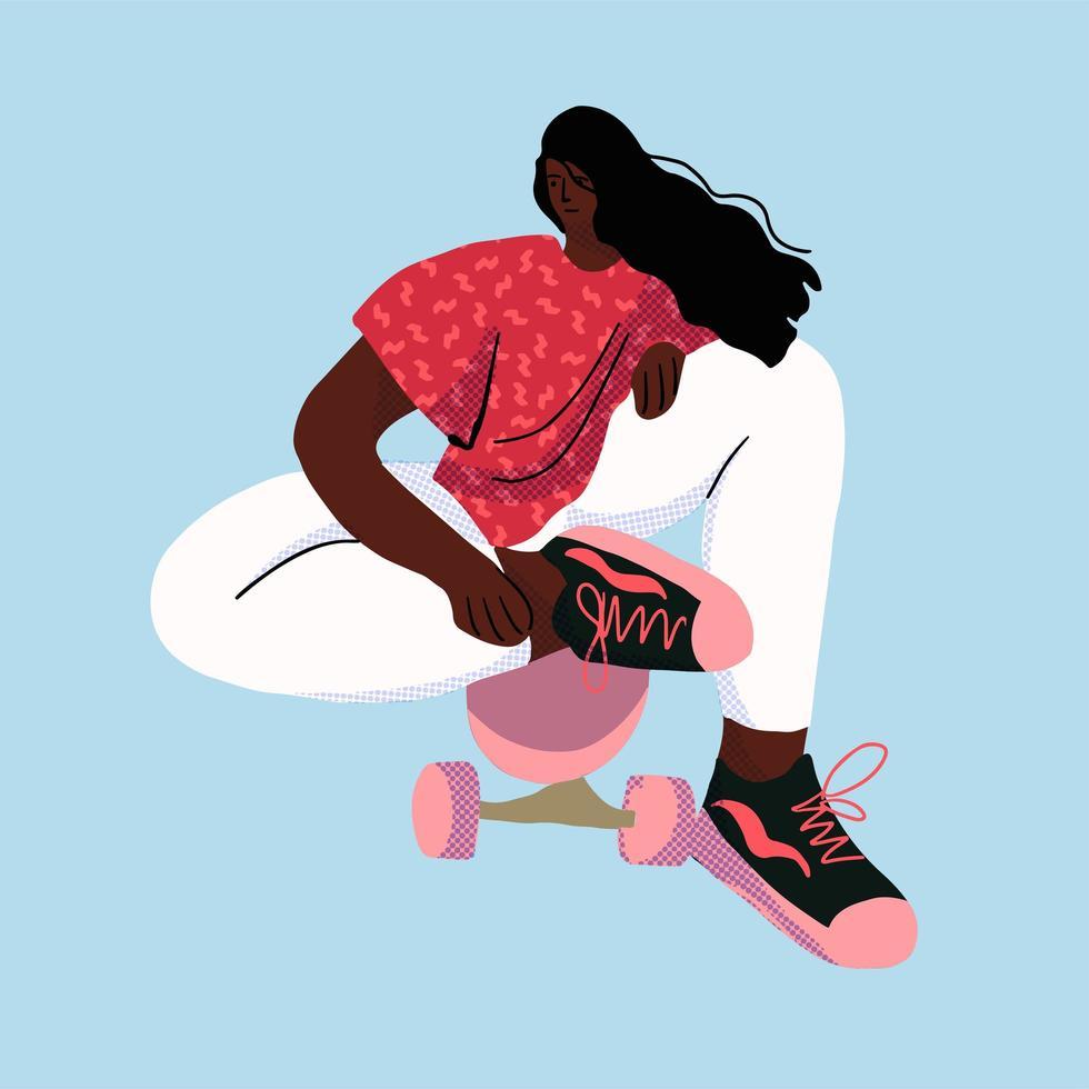 skatista elegante em jeans e tênis. vetor