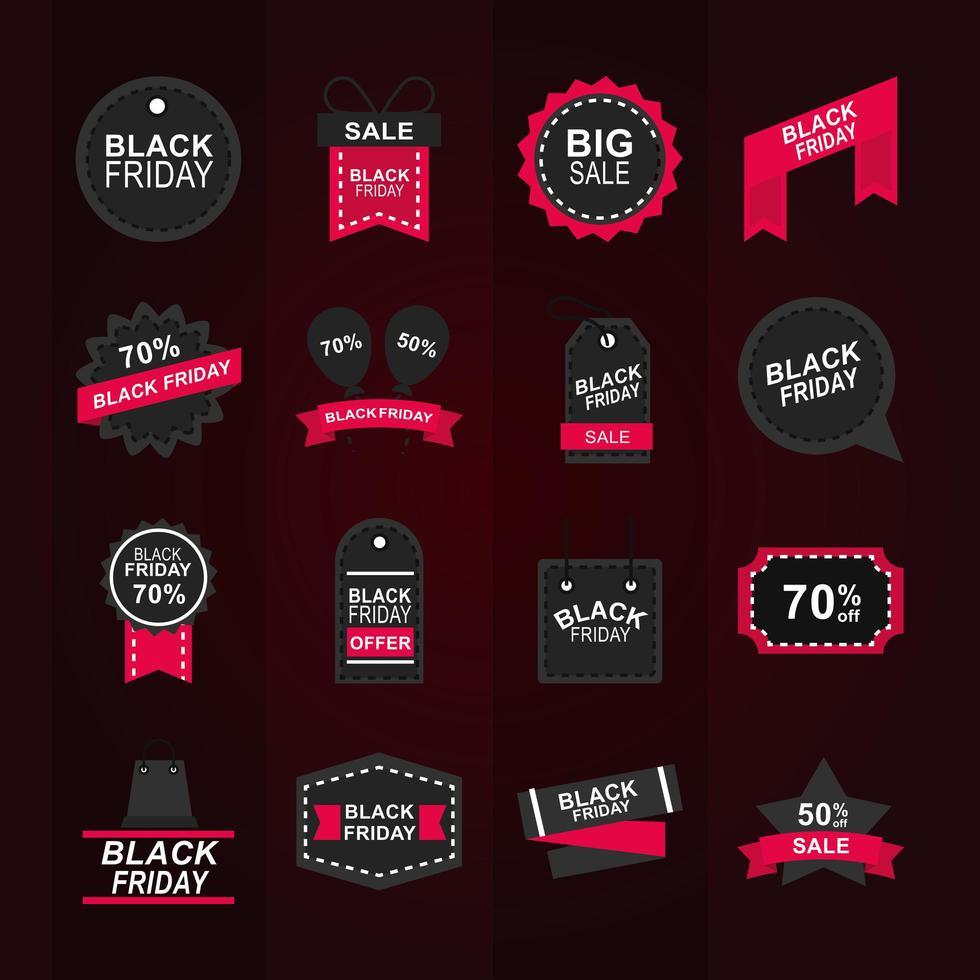 coleção de ícones de venda de sexta-feira negra vetor