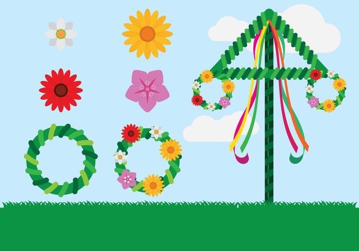 Elementos da celebração Midsummer vetor