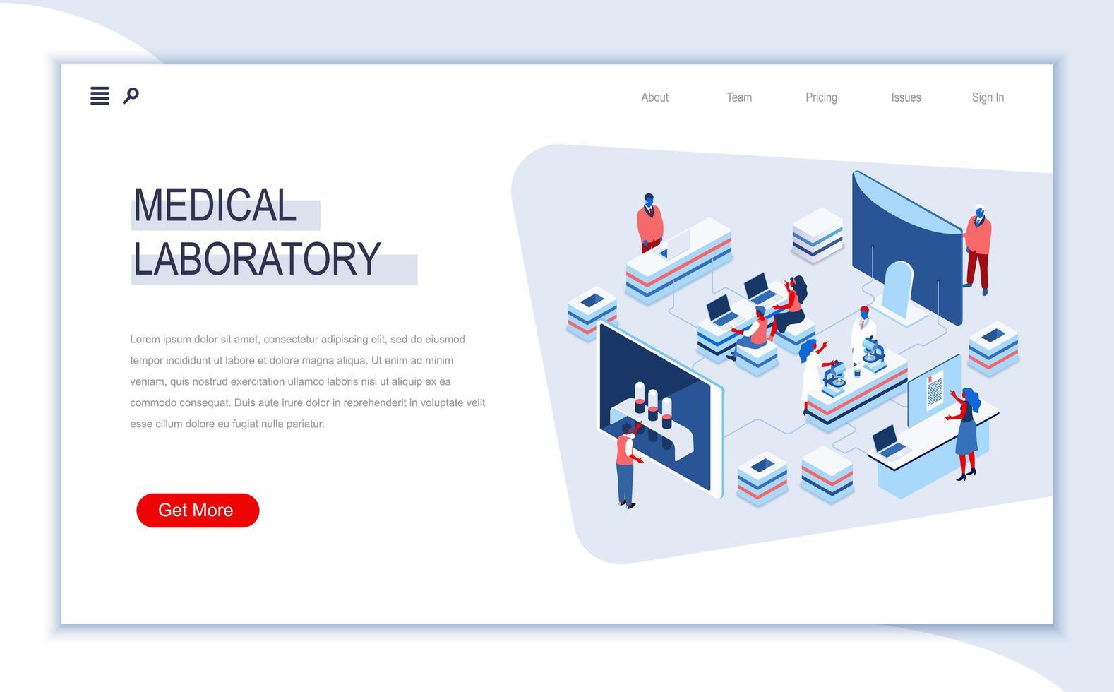 página de destino isométrica do laboratório médico vetor