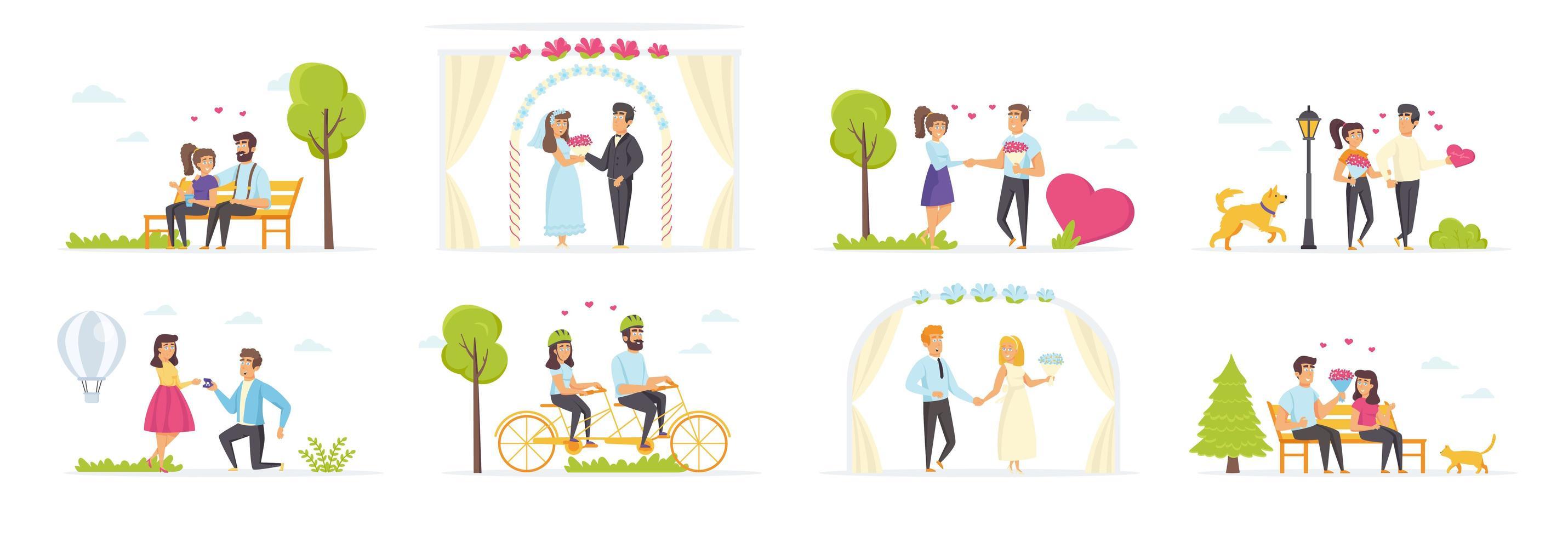 casal apaixonado com personagens de pessoas vetor