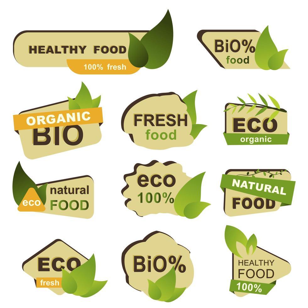 conjunto de emblemas de alimentos frescos, orgânicos, ecológicos vetor