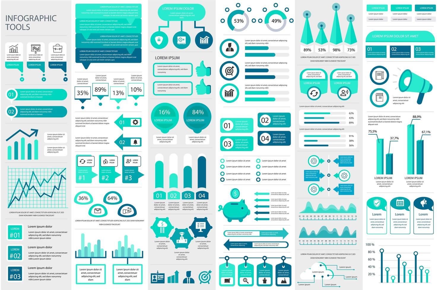 pacote de modelo de elementos de infográfico vetor
