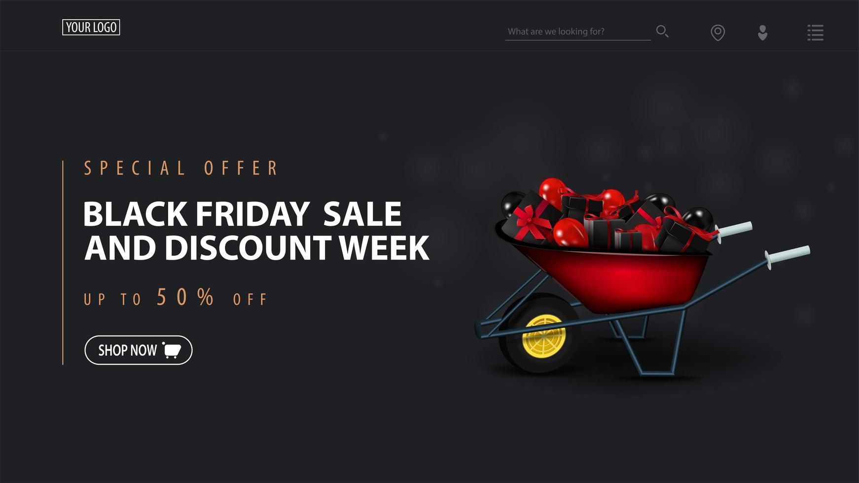 modelo de semana de desconto e venda de sexta-feira negra com carrinho de mão vetor