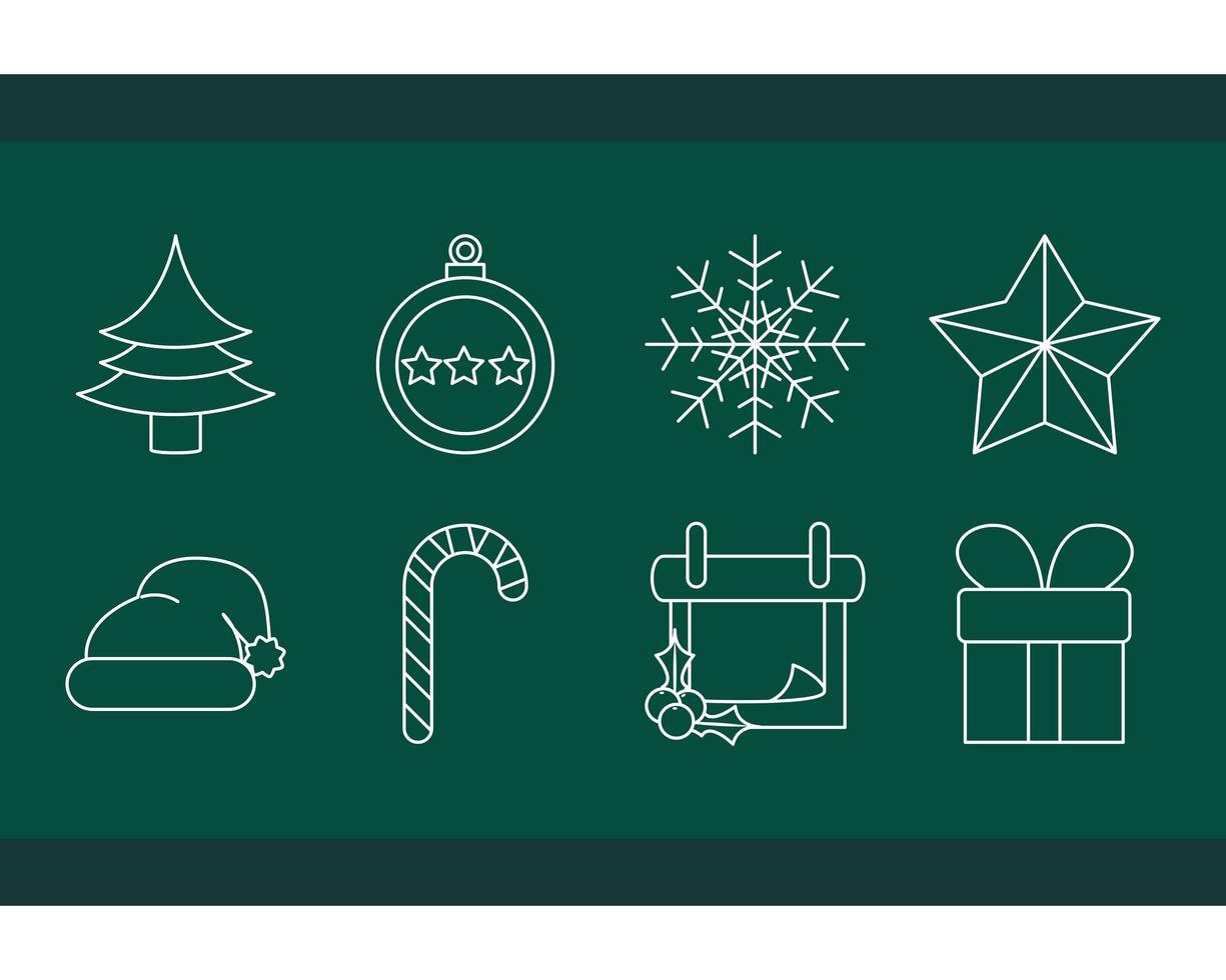 decoração de natal e conjunto de ícones de celebração vetor