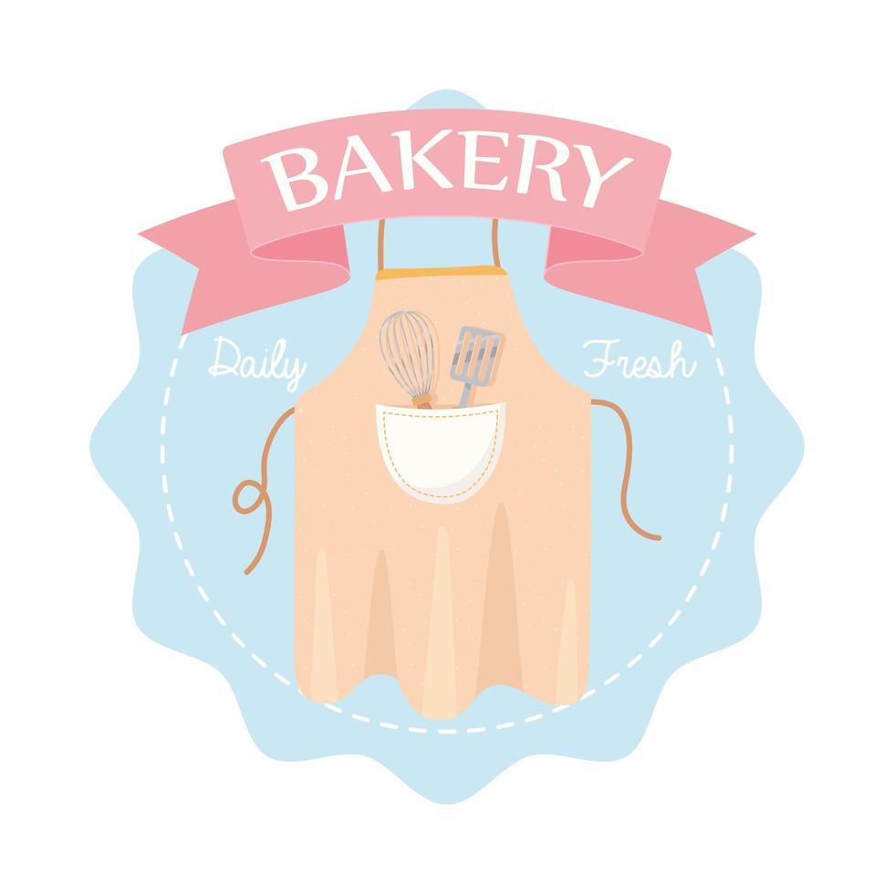 avental de padaria com batedeira e emblema de espátula vetor