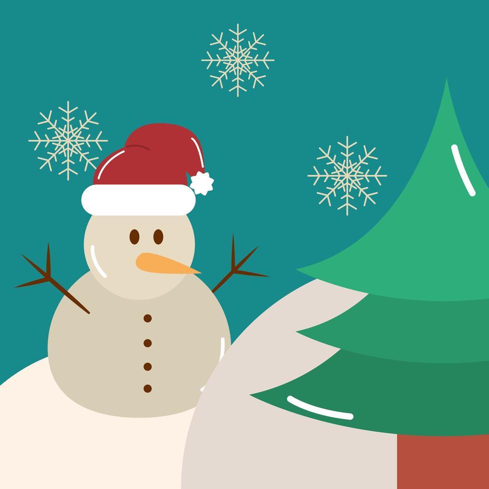 feliz natal, árvore de boneco de neve e decoração de flocos de neve vetor