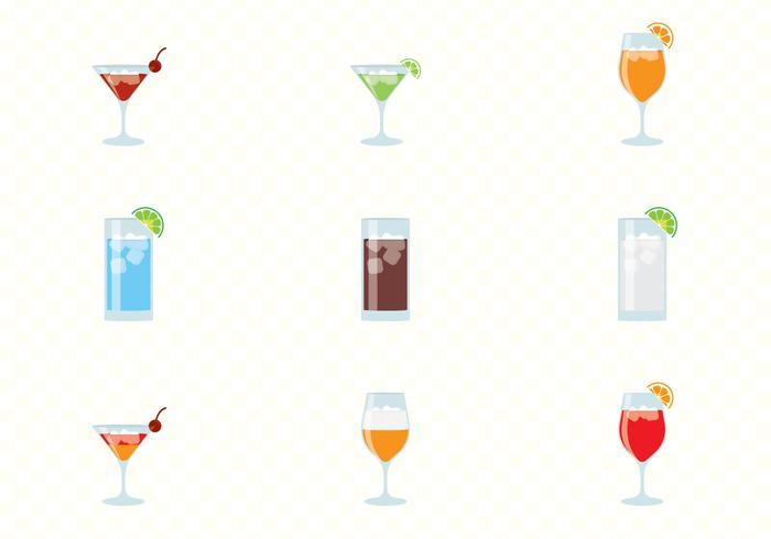 Álcool e Cocktails Bebidas Set vetor