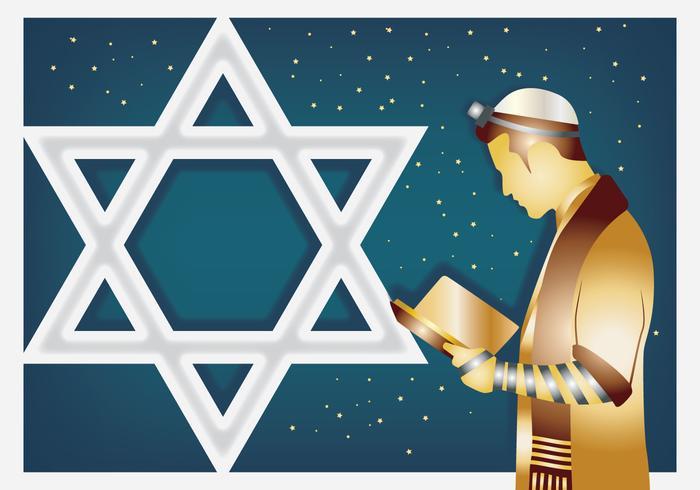 Homem judaico que praying vetor
