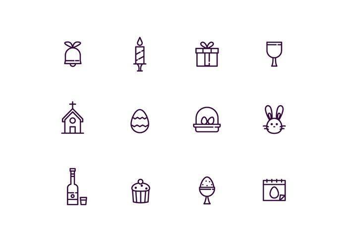 Easter Icons em Esboço Estilo vetor