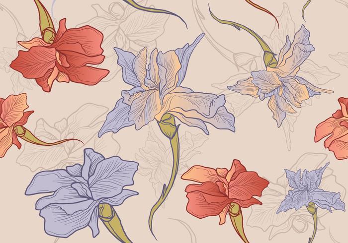 Padrão sem costura desenhado mão da flor da íris vetor
