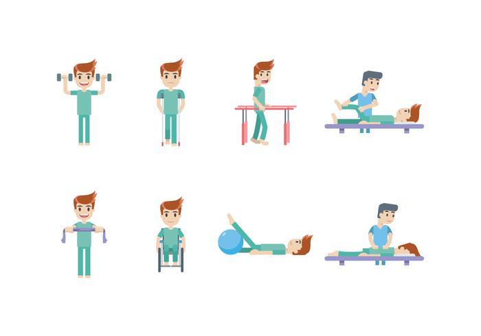 Fisioterapia e Reabilitação Icon Set vetor