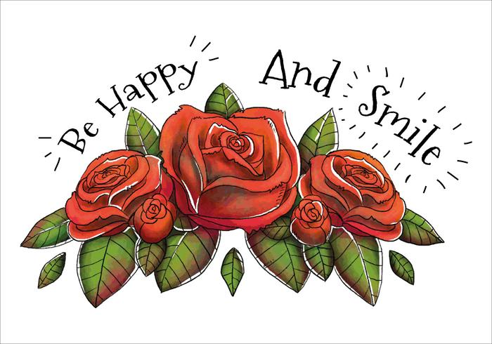 Ramalhete vermelho das rosas bonito e citações feliz vetor