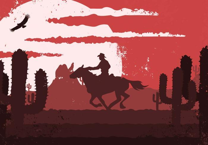 Ilustração Gaúcho Cowboy ocidental do vintage vetor
