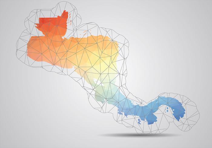 América Central Mapa Vector Background