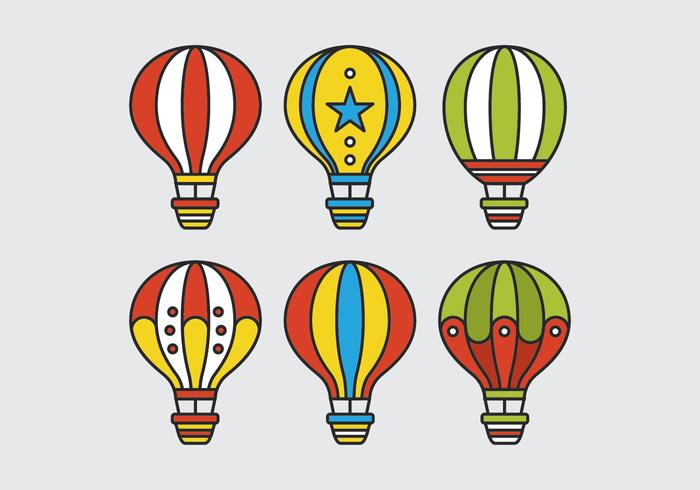 Seis vetores balão de ar quente