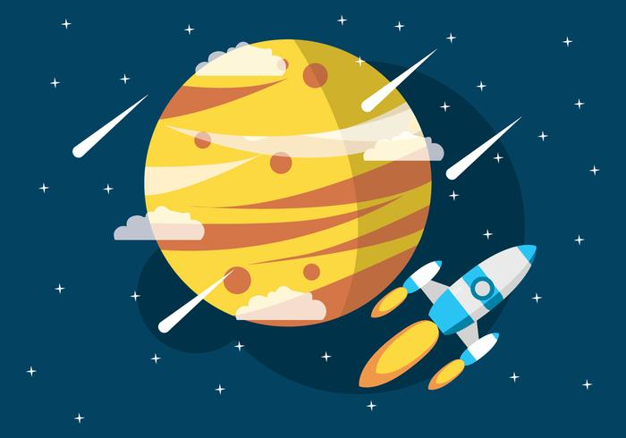 Nave espacial no universo vetor